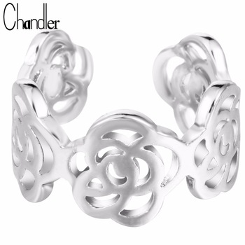 Chandler Brand 10pcs Silver Gold Plating Rose Flower Stack Ring Open Love Jewelry Simple Midi Bague For Women Friendship Gift