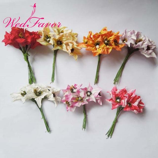 WedFavor 72pcs 4cm Scrapbooking Paper Lily Flower Bouquet Artificial ...