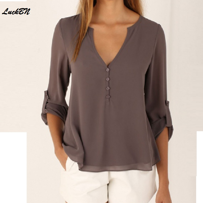 2018summer Womens Clothing Shirt Solid Casual Temperament Long-sleeved V-neck Loose Large Size Chiffon Wome Blouses Shirt Tops