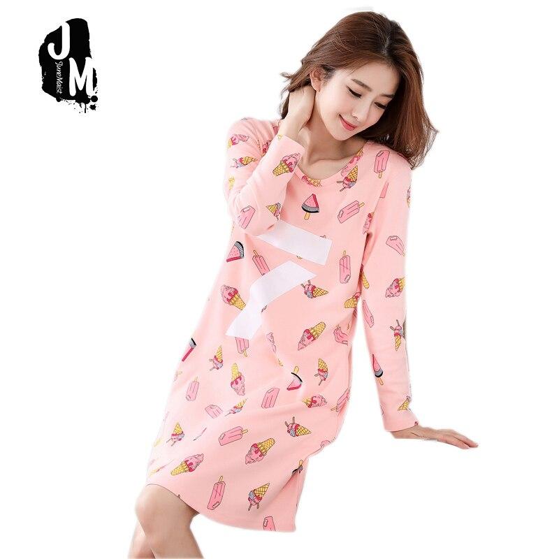 d2f4ff5265 Woman Nightgowns Cotton Sleepshirts Long Sleeve Spring Winter Lovely Print  cotton Sleepshirt Women Nightgown Ladies xxxl