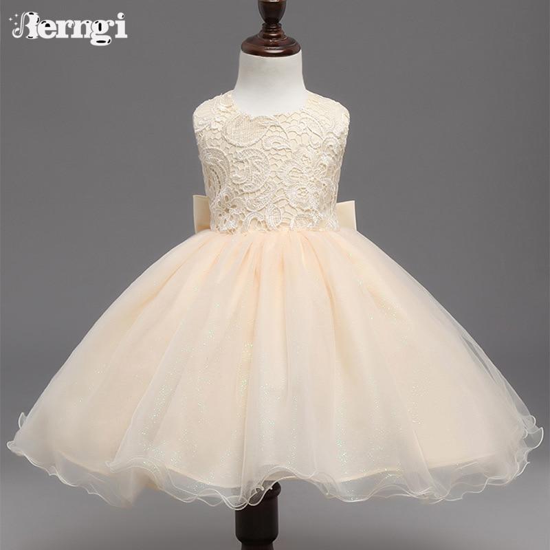 Brand Children Girl Clothing Backless Baby Girl Ceremonies Dress Lace Princess Infant Kids Formal Wedding Party Dresses