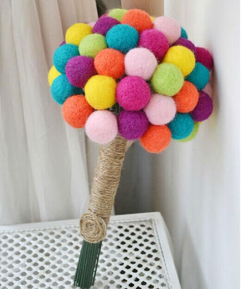 Brand New Multicolour Wool Felt Ball Bridal Bridesmaid Wedding ...