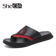 цены Men Sandals Comfortable Men Genuine Leather Summer Casual Shoes Split Leather Big Size Soft Flip flop Men Breathable Slippers