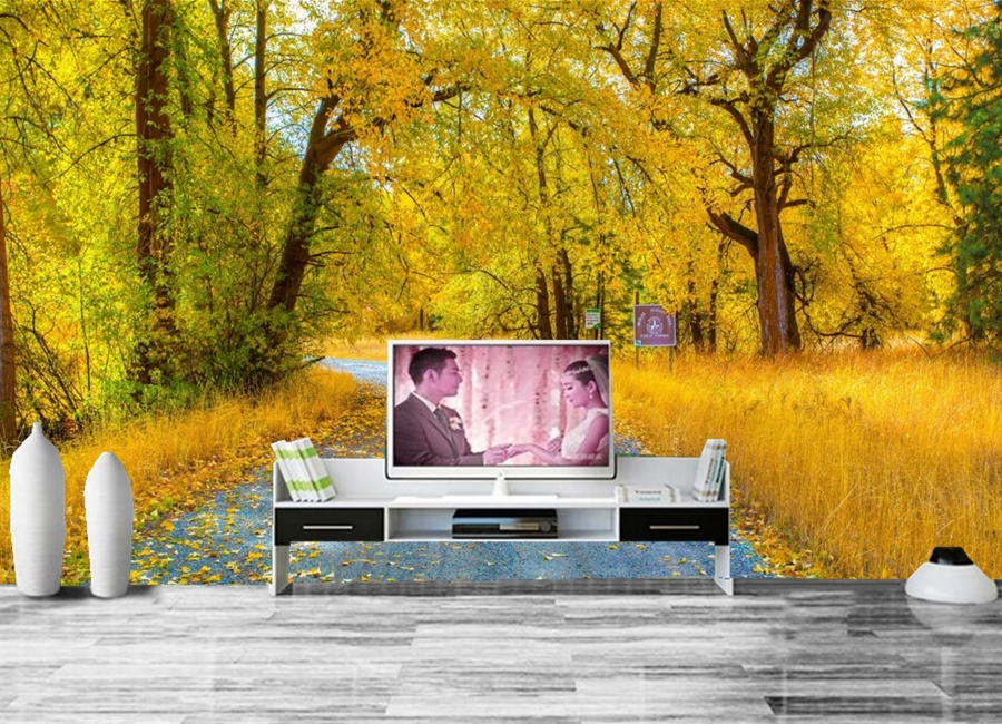 Custom 3D mural,papel de pared autumn Roads Trees Foliage Nature wallpaper,living room sofa TV wall children bedroom wall paper large mural papel de parede european nostalgia abstract flower and bird wallpaper living room sofa tv wall bedroom 3d wallpaper