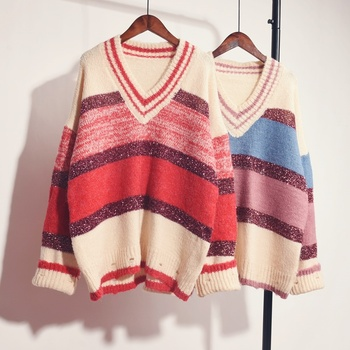 Plus size women's sweater Autumn&Winter fashion casual loog sleeve o-neck pullovers cotton striped knitted sweaters цена 2017