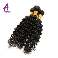 Alimice Hair Indian Deep Wave Human Hair Weave Bundles Non-Remy 1 Piece Hair Natural Color 8-26inch Free Shipping