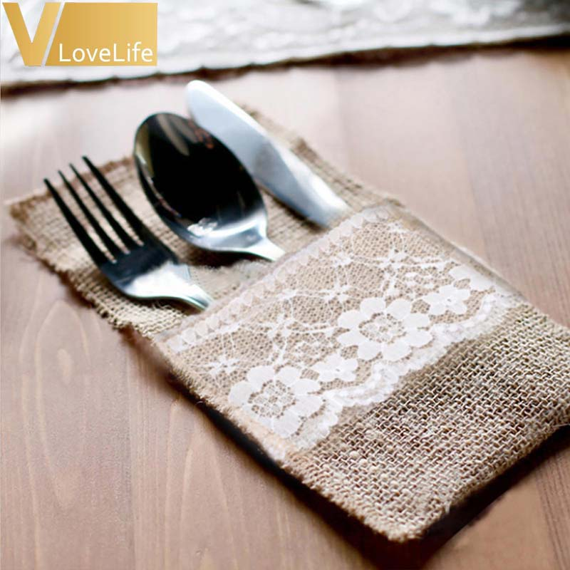 """100pcs Burlap Lace Cutlery Pouch Wedding Tableware Pouch Party Holder Bag 4"""" x 8"""" Hessian Rustic Jute Table Decoration-in Party DIY Decorations from Home & Garden    1"""