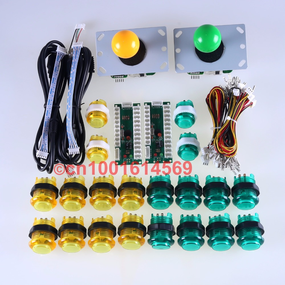 Arcade DIY Kits Parts 2x USB Encoder + 2 x Joystick + 20 x LED Push Buttons For Arcade Mame Games Project Green+Yellow Kit  Sets arcade joystick diy kit usb encoder to pc ps2 ps3 arcade sanwa joystick sanwa push buttons for arcade mame