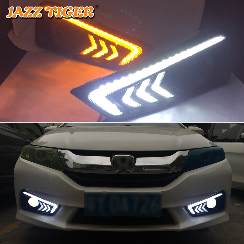 JAZZ TIGER 2PCS Yellow Turn Signal Function 12V Car DRL Lamp LED Daytime Running Light Daylight