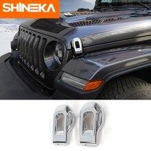 SHINEKA Car Stickers For Jeep Wrangler JL 2018 Hood Latch Cover Decoration Chrome Sticker