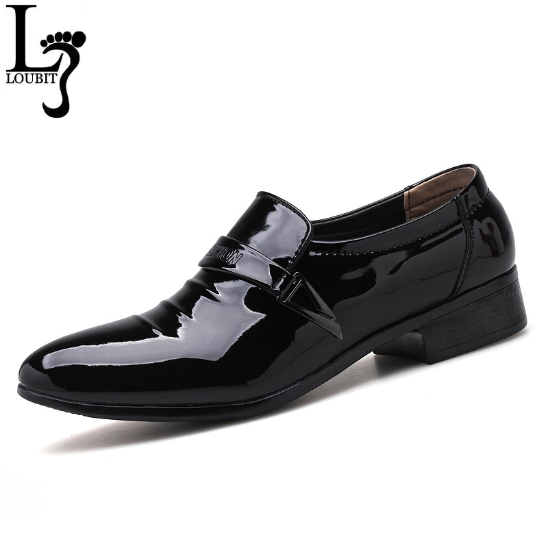 Men Black Patent Leather Dress Shoes 2018 Fashion Slip-on Business Pointy Shoes Formal Men's Wedding Shoes Big Size 38-48