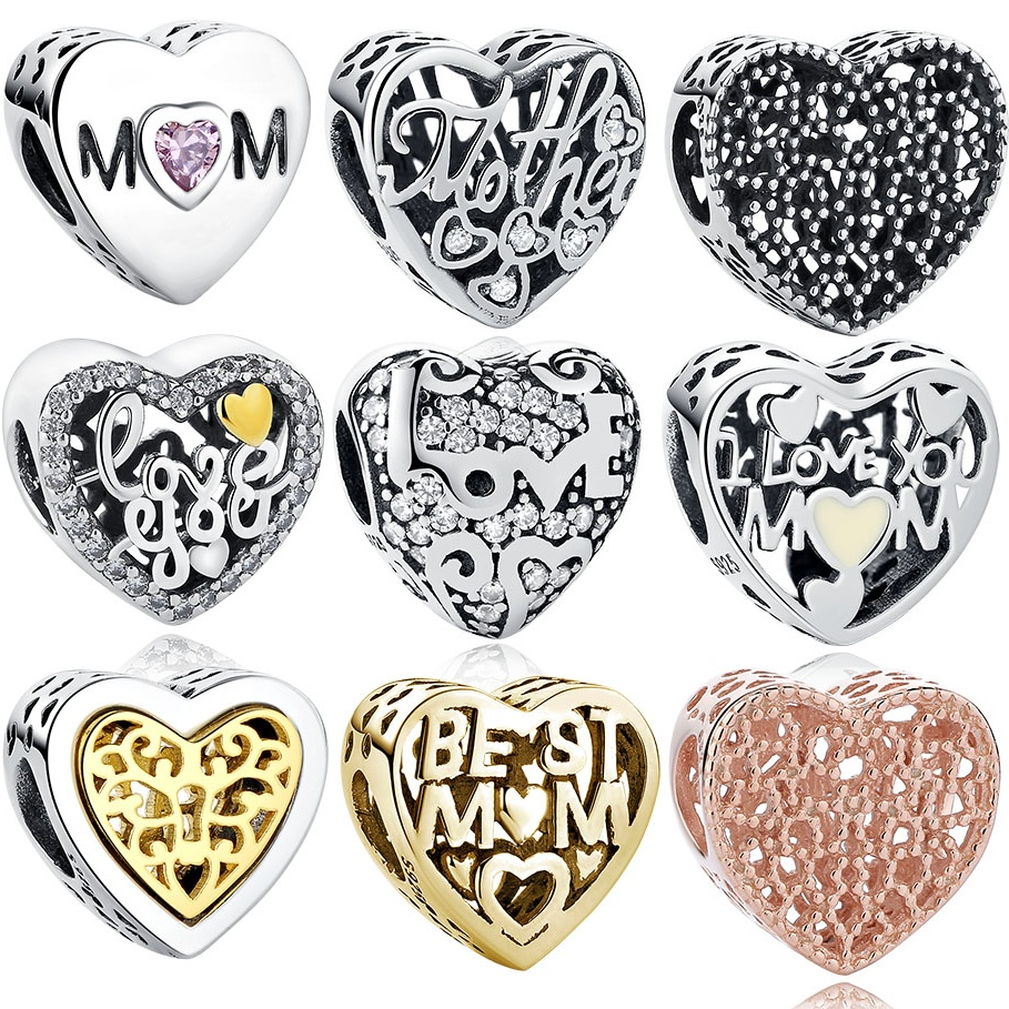 Mothers Day Gift 100% Real 925 Sterling Silver Heart Love Charm Beads Fits Original Pandora Charms Bracelet DIY Jewelry