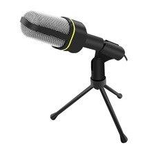 3.5mm Estéreo Con Cable de Mano Profesional de Condensador para Estudio Micrófono con Clip Del Soporte Trípode Mic para Skype PC de Escritorio