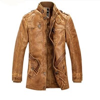 2017 Winter New Mens Long Sleeved Leather Jackets Fashion Business Comfortable Casual Leather Men Coat Hot