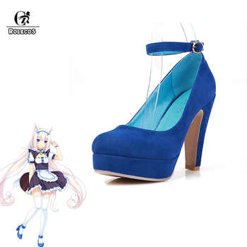 ROLECOS Game Nekopara Cosplay Shoes Chocola and Vanilla Cosplay Shoes Women Maid Red Blue High-heeled Shoes for Party Game Cos