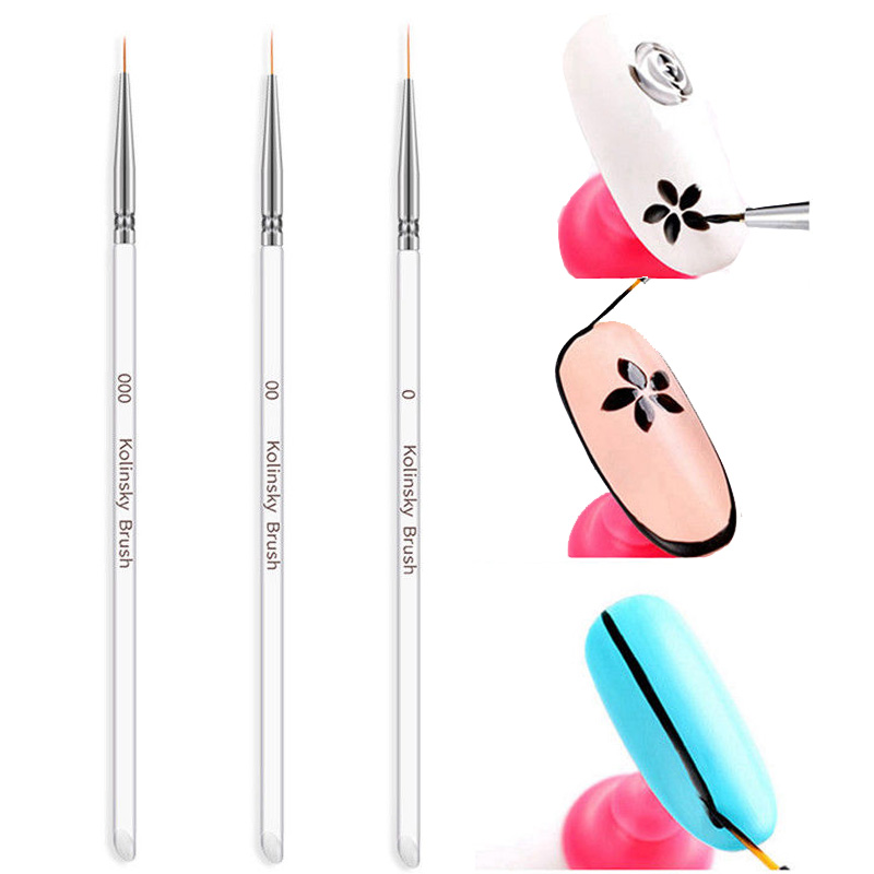 3 Size Nail Brush Art Dotting Pen Acrylic Rhinestone Crystal 2 Way UV Gel Painting Manicure Tool Drawing Liner Flower