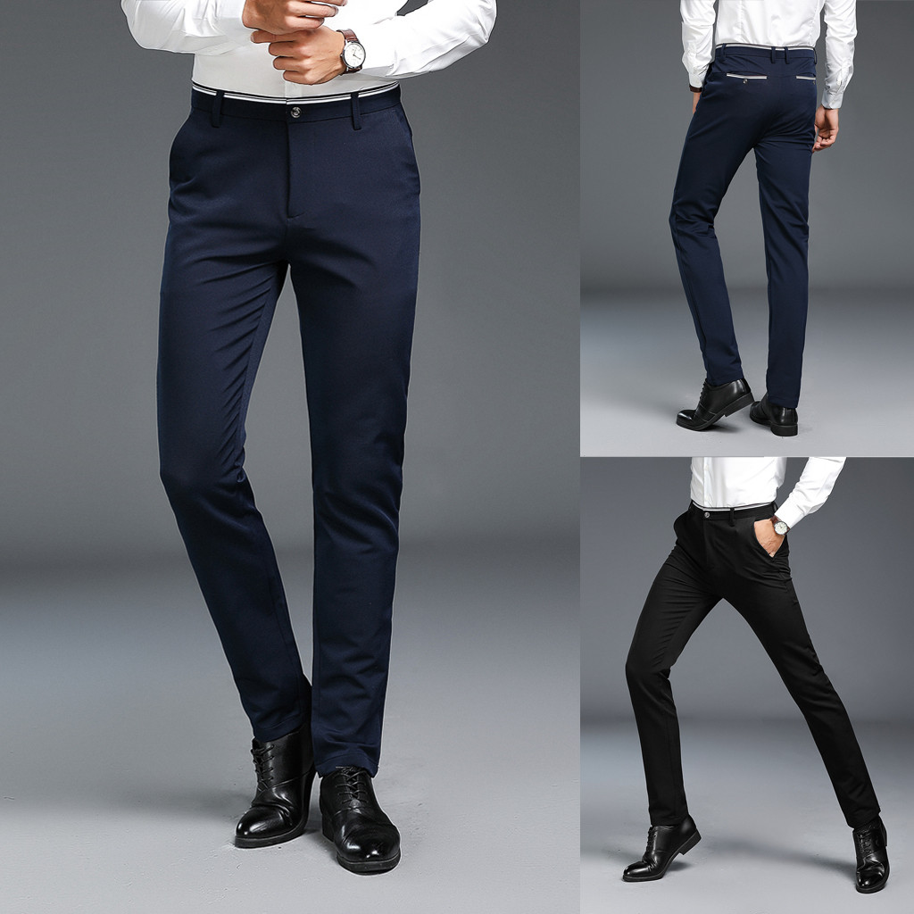 Pants Long-Trousers Elegant Slim Men's Casuall Solid Fashion Zippered Man 28-38