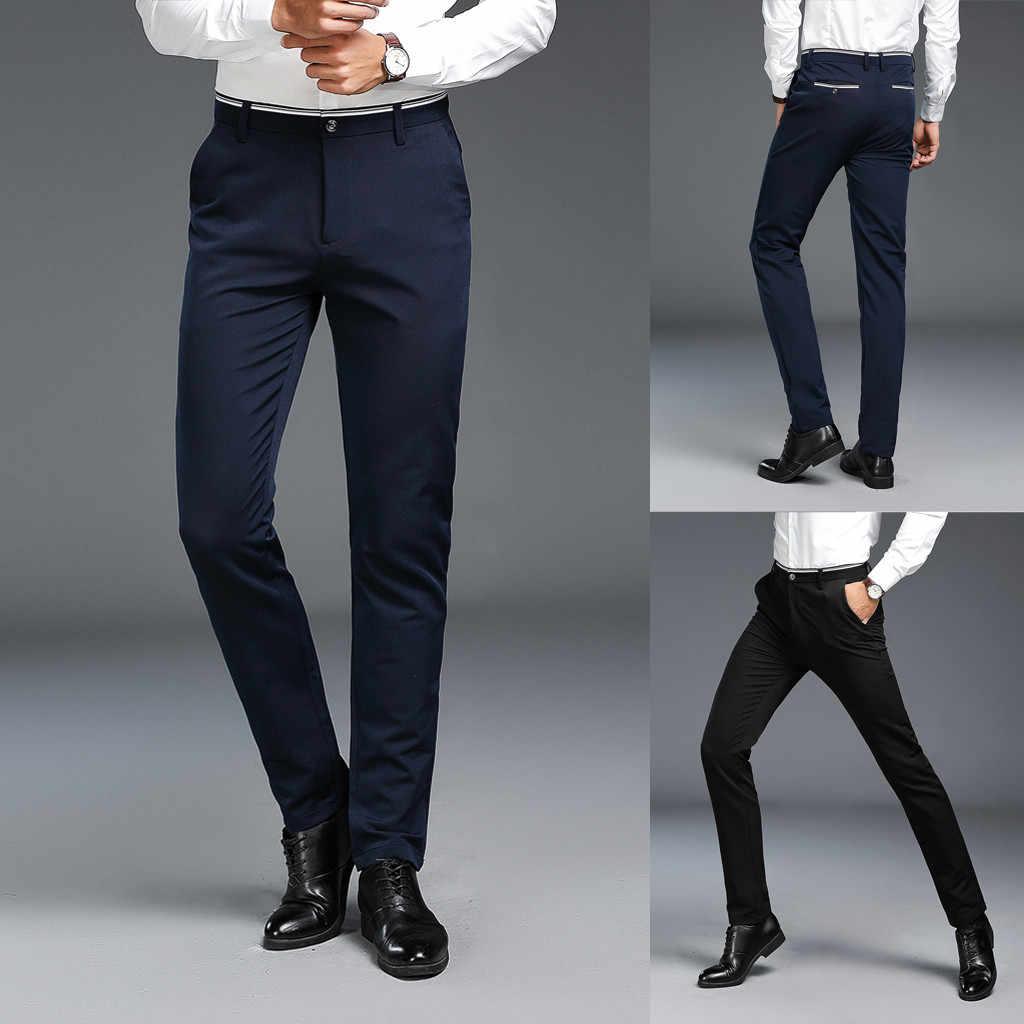 Modernos Pantalones Informales Para Hombre De Negocios Ajustados Elegantes Nuevos A La Moda Lisos Informales Ajustados Con Cremallera Para Negocios Pantalones Largos 28 38 Pantalones De Traje Aliexpress
