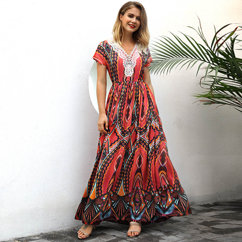 Summer Women Sexy Dress V Neck Short Sleeve Printed Lace Patchwork Beach Casual Maxi Dresses H9
