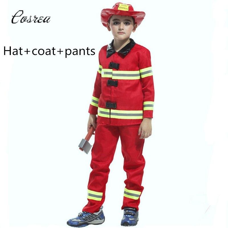 Kids Fireman Costume Sam Child Uniforms Set Fireman Suit for Boy Girls Firefighter Helmet Fireman Hat Accessories Party