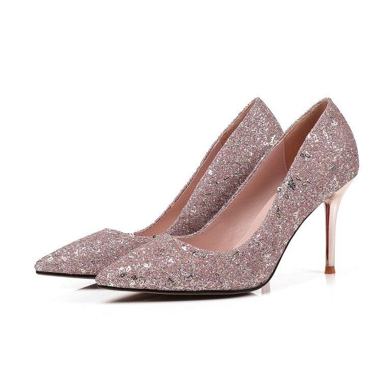 Original Intention New Fashion Women Pumps Glitter Pointed Toe Thin High Heels Pumps Stylish Pink Shoes Woman Plus US Size 3-13