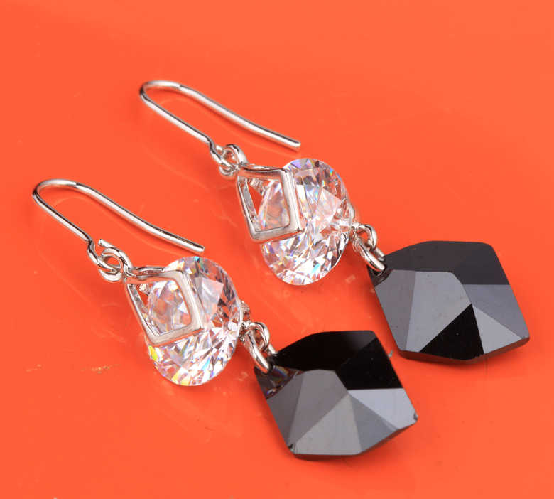 Irregular Black Onyx White Limited 925 Sterling Silver Jewelry Drop Dangle Earrings For Women Free Shipping S5148