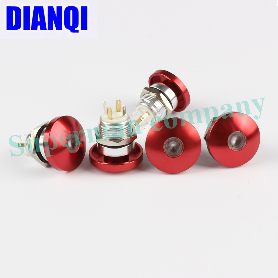 Free shipping 16mm Metal Waterproof Push Button Switch dot lamp button mushroom Momentary with LED NO press button 16MG1D.F new 12v metal angel eye led car illuminated 16mm push button switch in stock free shipping