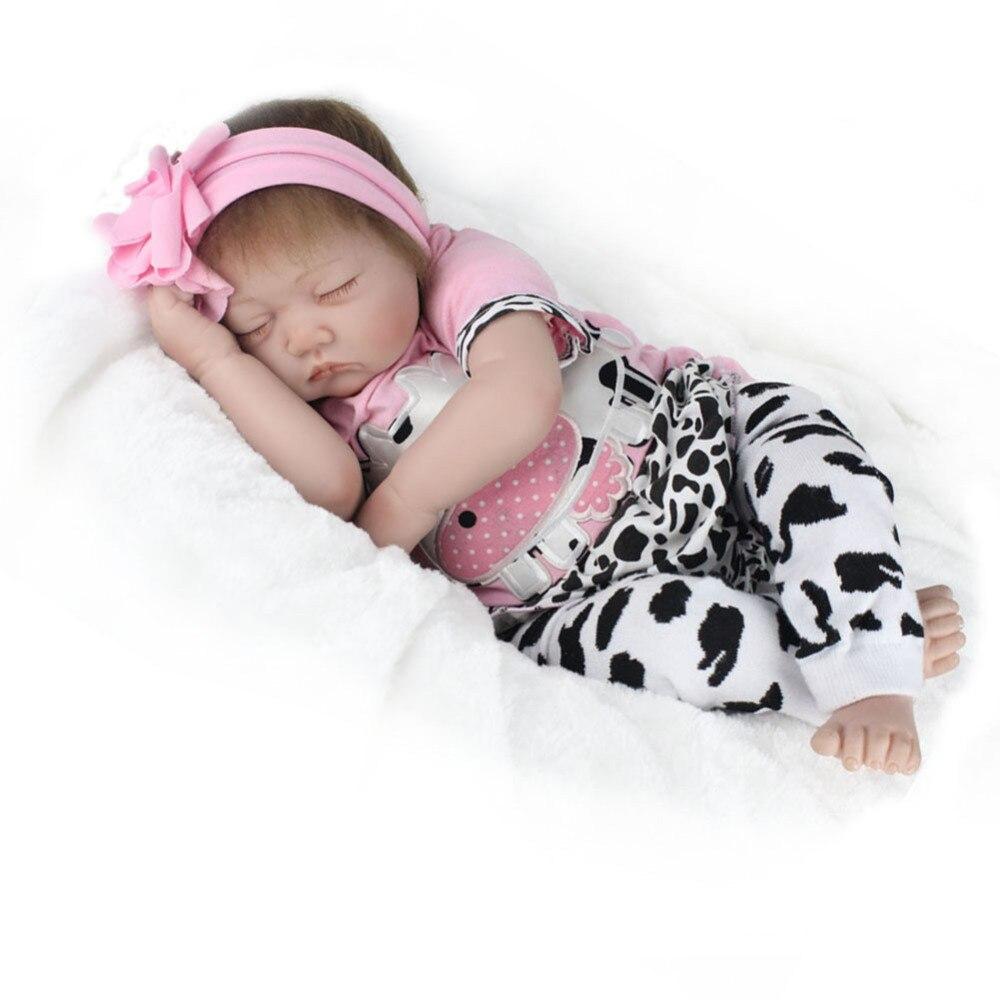 Lifelike Baby Girl Doll Simulation Reborn Baby Companion Doll Soft Rubber Adorable Sleeping Girl Dolls for Gift scary lifelike soft rubber hanging bat toys pair
