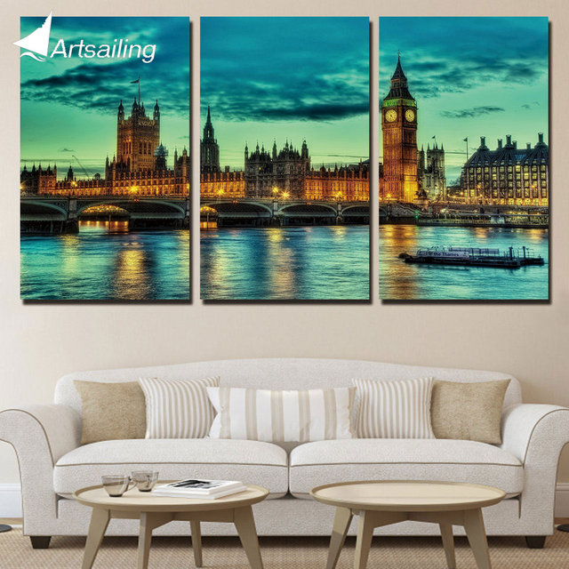 3 Panels Canvas Art Panorama England Home Decoration Wall Art ...