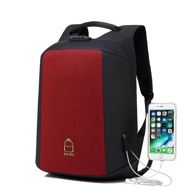BAIBU Design Luxury Coded Lock Anti-theft Men Backpack External USB Charge 15.6 Laptop Backpacks Casual Student School Backpack цена 2017