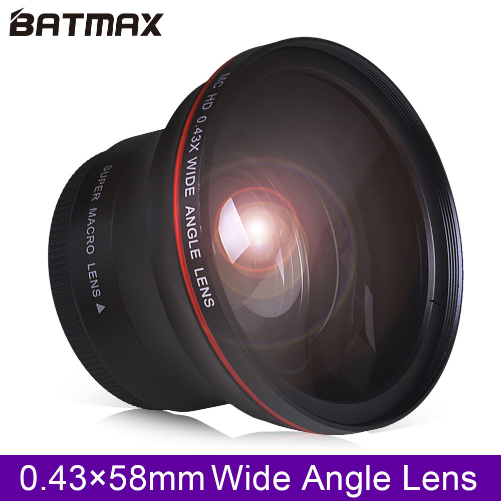 58MM 0.43x Batmax Professional HD Wide Angle Lens (w/Macro Portion) for Canon EOS Rebel 77D T7i T6s T6i T6 T5i T5 T4i T3i SL2 60 image