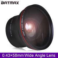 58mm lente grande angular hd profissional de 0.43x batmax (com/porção macro) para canon eos rebel 77d t7i t6s t6i t6 t5i t5 t4i t3i sl2 60
