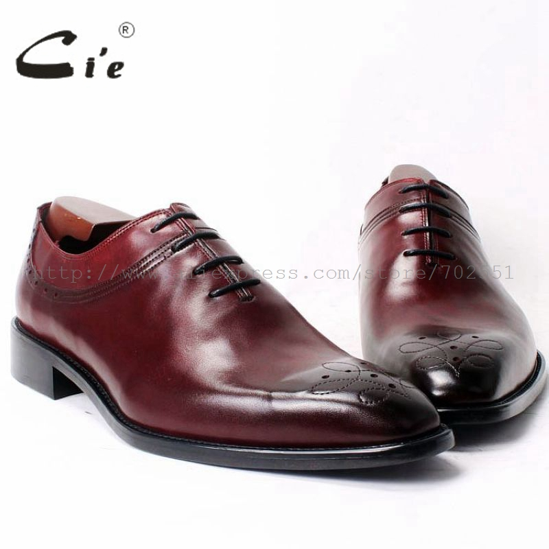 cie Square Toe Lace-Up Oxfords Plain Toe 100%Genuine Calf Leather Mackay Stitching Outsole Breathable Bespoke Mens Shoe OX327 cie square cap plain toe lace up oxfords black 100