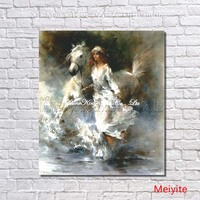Riding horse girl modern painting Handpainted figure Oil Painting wall art on Canvas for living Room home Decor Picture