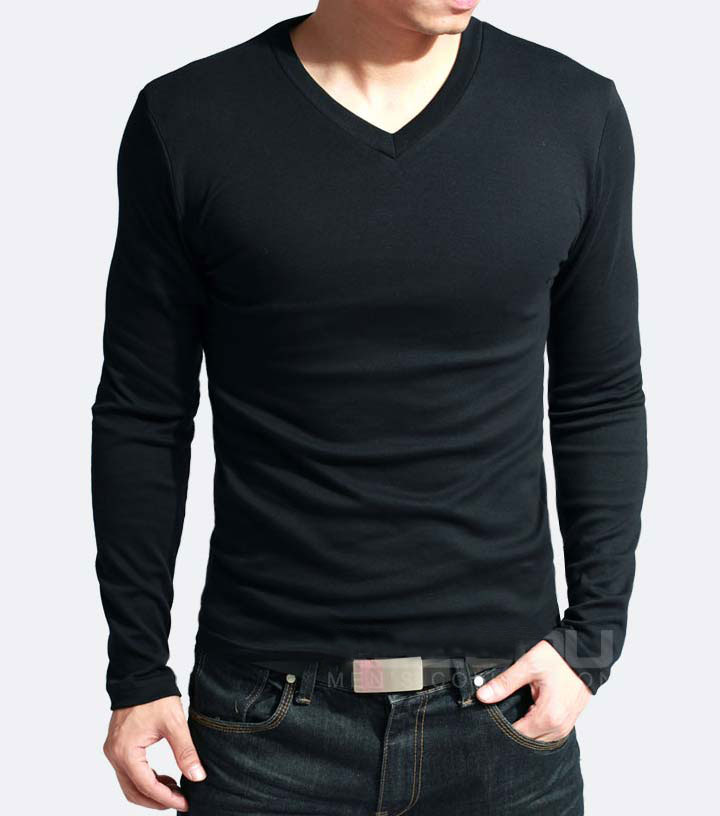 Elastic Mens T-Shirt V-Neck Long Sleeve Men T Shirt For Male Lycra And Cotton T-Shirts Man Clothing TShirt 20