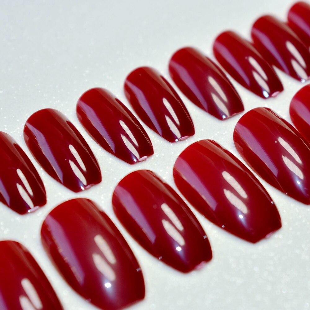 1 kit=24pcs Ballerina Press On Nails Dark Red Lady Acrylic Nail Tips ...