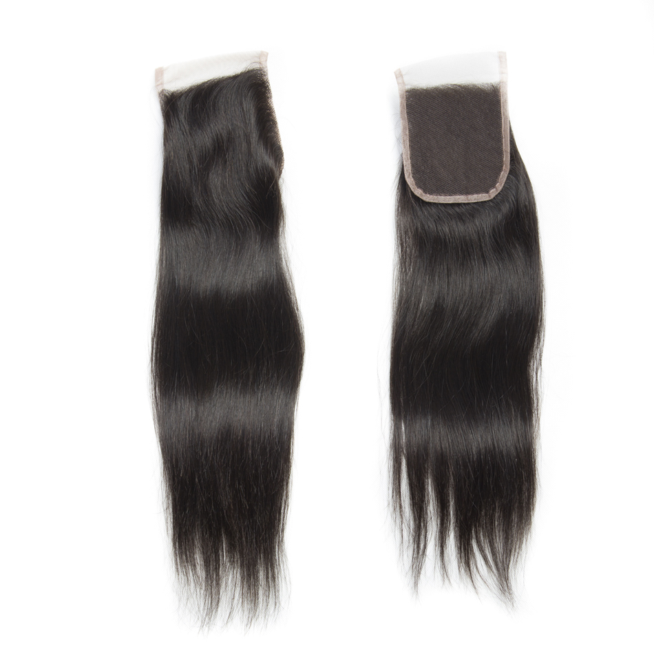 Modern Show Straight Remy Hair Free Part Lace Closure 100% Human Hair Natural Color 1B Can be Dyed and Bleached Free Shipping