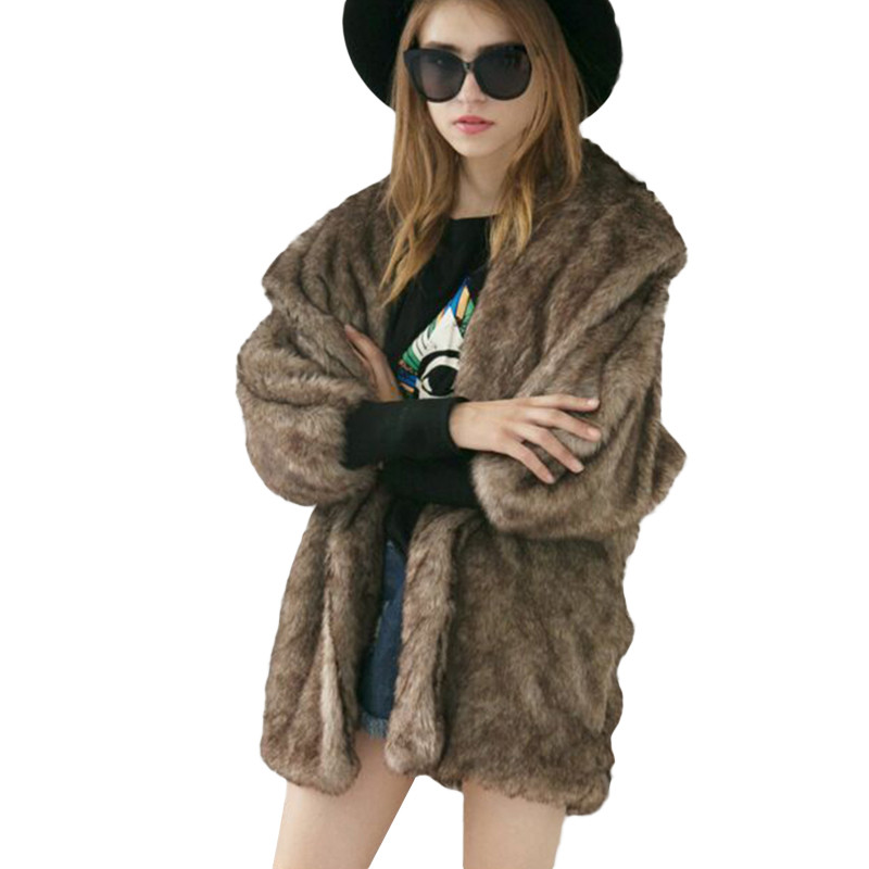 Manches Col Longues La Outwear Fourrure Plus Noir Dames De Faux Taille Épais Chaud D'hiver Veste À Châle Renard Femmes camel Manteau 2018 Moelleux Luxe vNn0wOmy8