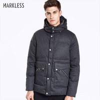 Markless Winter Men Thick Seamless Down Coats Brand Clothing Men Casual Vertical Stripes Down Jackets Hooded YRA7323M
