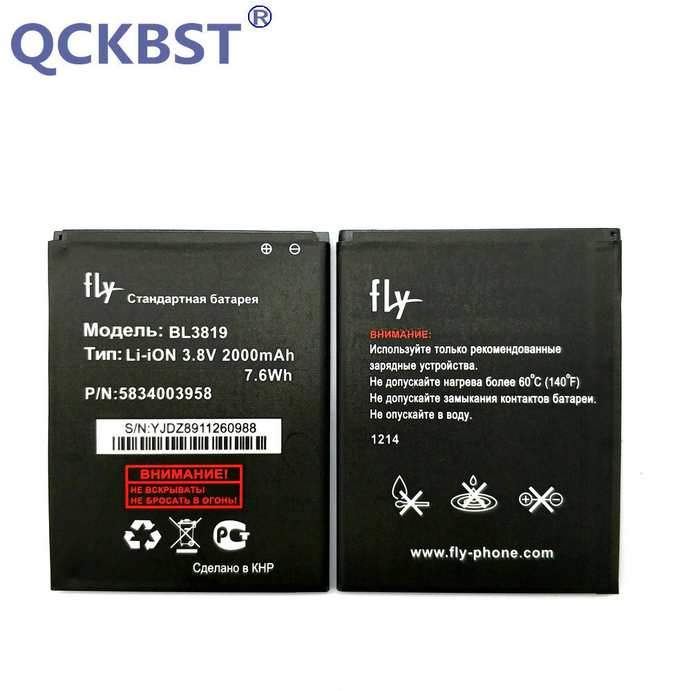 QCKBST Battery For Fly-Iq4514 BL3819 Quad 4-Cell-Phone-Replacement-Batteries Tech 2000mah
