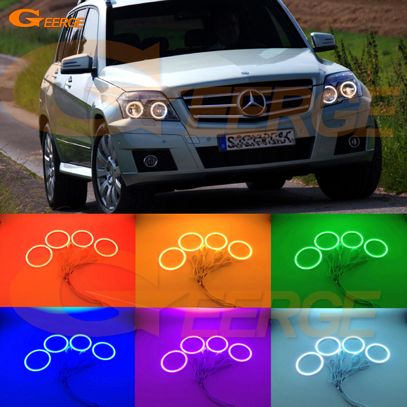 For Mercedes Benz GLK 280 300 320 350 2010 2011 2012 Excellent Angel Eyes Multi-Color Ultra bright RGB LED Angel Eyes kit for mercedes benz b class w245 b160 b180 b170 b200 2006 2011 excellent multi color ultra bright rgb led angel eyes kit