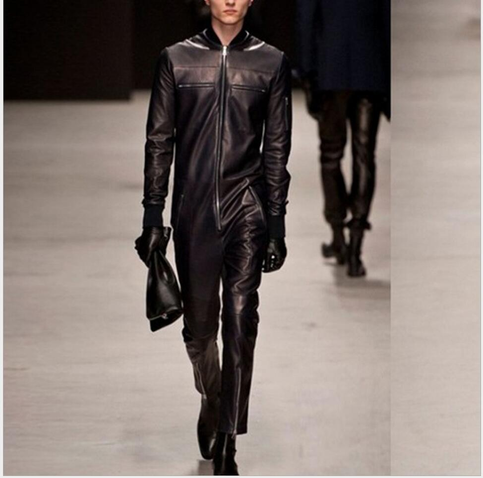 Men Jumpsuit Rompers Pu Leather One Piece Pants Catwalk Models Overalls Leather Jacket Zipper Singer Stage Costumes