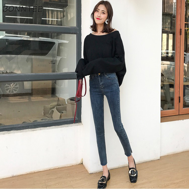 Jeans Women Skinny Elastic Elegant High Waist Ankle-length Womens Pencil Jean Korean Style All-match Simple Retro Casual Trendy