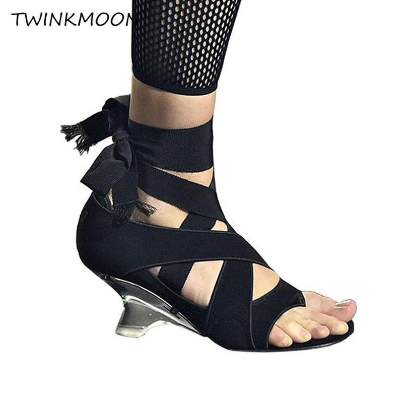 Sandalias de tacón alto transparentes transpatent zapatos de mujer atado al tobillo Strape Bandage de encaje hasta 2019 zapatos de pasarela de verano-in Sandalias de mujer from zapatos    1