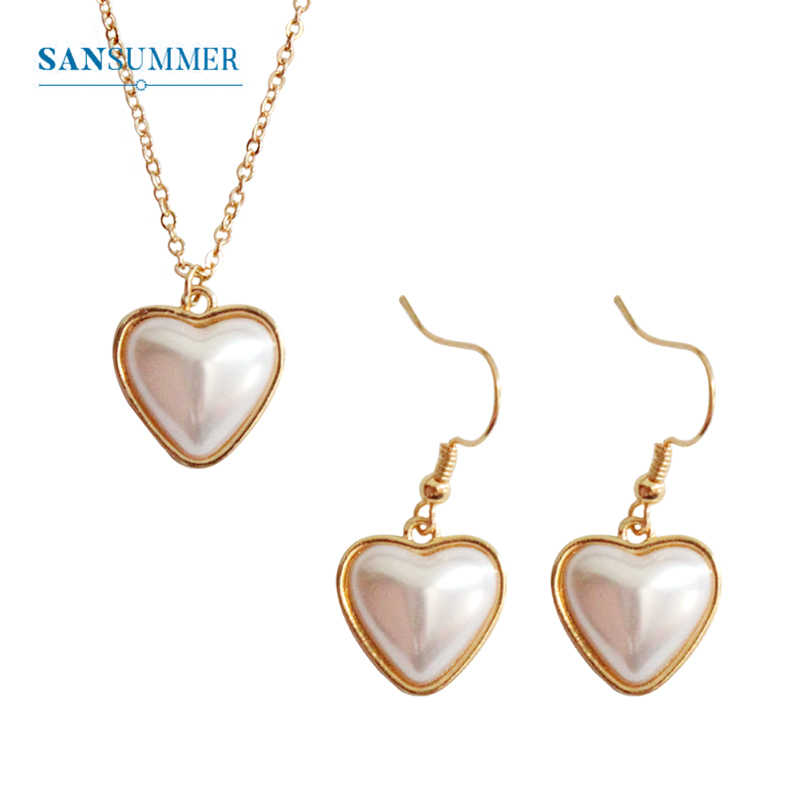 SANSUMMER Jewelry Set Temperamental Metal Heart Inlaid Large Pearl Necklace Earrings Women'S Jewelry Set Womens Accessories 6241