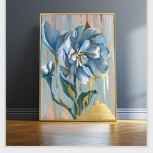 100% Hand Painted Abstract Golden Blue Flowers Oil Painting On Canvas Wall Art Pictures For Living Room Home Decor