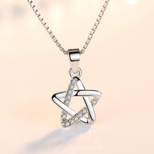 TJP Trendy Star Female Pendants Necklace Party Accessories Fashion Women Silver 925 Choker Girl Valentines Day Gift