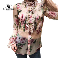 Pink Floral Printed Blouse Women Summer Blouses 2018 Womens Long Sleeve Ruffles Blouses