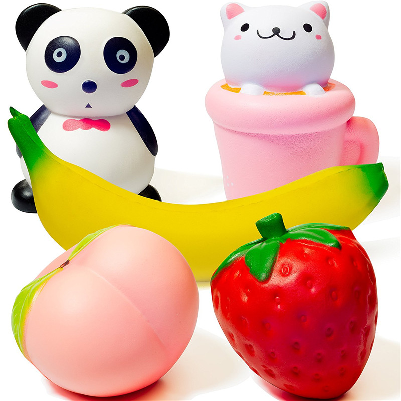 Slow Rising Squishies 5PCS Panda Cup Cat Strawberry Peach Banana Sweet Scented Stress Relief Kawaii Animal Fruit Squishy Toys