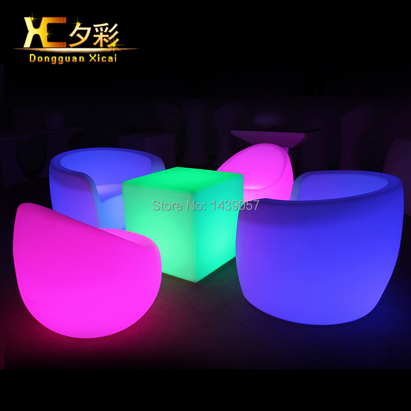 Led luminous bar chair plastic color changing club back for Chaise gonflable